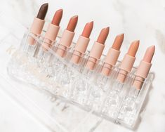 kkw beauty créme lipsticks in shades nude 1, nude 2, nude 3, nude 4, nude 5, nude 6, nude 7, and nude 8 #kimkardashian #kimkardashianbeauty #kkwbeauty #nudelipstick #nudemakeup #nomakeupmakeup