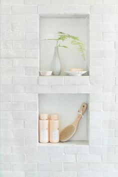 Our Classic Modern Master Bathroom Reveal - Emily Henderson - Emily Henderson Modern English Cottage Tudor Master Bathroom - Bad Inspiration, Bathroom Inspiration, Bathroom Ideas, Bathroom Styling, Best Kitchen Design, Shower Inserts, Modern Master Bathroom, White Bathroom Tiles, White Bathrooms