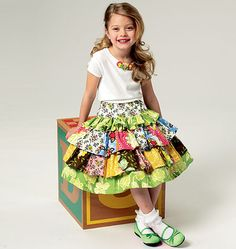 Girl's tiered skirt from Butterick 5777 with top and shorts   Bought today to try to make Meredith a BRAVE skirt!