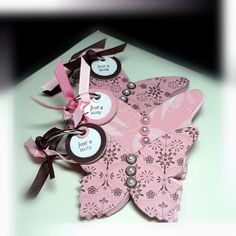 Me, My Stamps and I: Butterfly Note Pads - Stamps: All Year Cheer 111. Paper: Chocolate Chip, Pretty in Pink, chipboard, pink papers Ink: Chocolate Chip. Accessories: ribbon, jumbo eyelets. Tools: Big Shot, beautiful butterflies die cut, Crop-a-dile, circle punches, circle die cuts