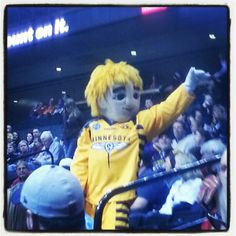 Buzz, the mascot for the Minnesota Swarm lacrosse team