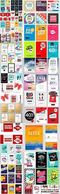 Скидки - красочные постеры, баннеры - шаблоны для Фотошоп   Sale Brochure And Banners Template