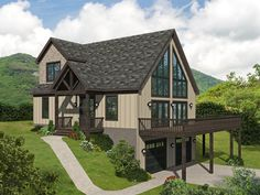 062H-0292: Two-Story Mountain House Plan Mountain House Plans, Family House Plans, Best House Plans, Home And Family, Mechanical Room, Contemporary Style Homes, House Stairs, Build Your Dream Home, New Home Designs