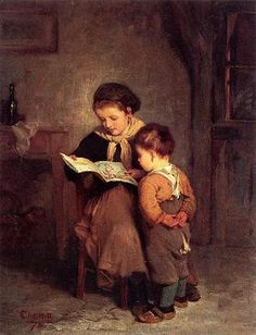 James Wells Champney - Puss-in-Boots 1875 The beginning of the love of books the love of a mothers voice reading the lines. Classic Paintings, Paintings I Love, Beautiful Paintings, Reading Art, Woman Reading, Reading People, Children Reading, Fine Art, Belle Photo