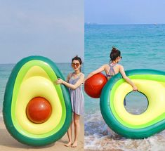 you can now enjoy your avocado toast while floating on an avocado. The best part about this pool float? It has a removable pit that can be used as a beach ball - because shouldn'. Summer Pool, Summer Fun, Geek Gadgets, Cool Gadgets, Cute Pool Floats, Cute Avocado, Avocado Toast, My Pool, Cool Ideas