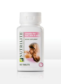 NUTRILITE® Complex for Hair, Skin and Nails; 60 tabs; Don't wait until you start seeing distress signs in the mirror. Take action now and let NUTRILITE Complex for Hair, Skin & Nails help you look your best from the inside out.