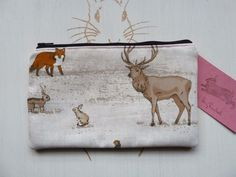 Handmade Makeup Bag Stag Deer Fox Rabbits Owl Cosmetic Pencil Case Pouch Animals