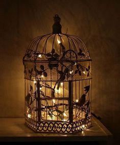 Ideas Bird Cage Centerpiece Wedding Fairy Lights For 2019 Bird Cage Centerpiece, Centerpiece Wedding, Bird Cage Decoration, Wedding Lanterns, Witch Decor, Outdoor Lighting, Outdoor Decor, Unique Lighting, Bird Cages