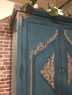Kitchen Armoire, Painted Armoire, Hand Painted, House, Furniture, Ideas, Home Decor, Kitchen Hutch, Painted Wardrobe