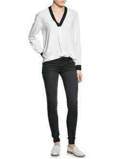 MANGO - CLOTHING - Tops - Contrast edge blouse