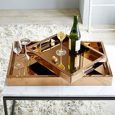 Mirror Tray – Copper #westelm: trays like this would bring some brightness to the room and tie back in with modern rustic if we combined it with the Penddleton blanket and some more wood colors. Plus, practical holder for make up and accessories.