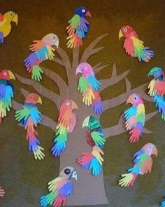 P is for Parrot Handprint Bird craft. I love these hand print craft ideas! Parrot Handprint Bird craft for kids! These colorful parrots made from hand cutouts are simply adorable. Pair with a fun parrot book s Grandma's Craft And Cooking Corner: Parrot Ha Kids Crafts, Daycare Crafts, Summer Crafts, Toddler Crafts, Projects For Kids, Craft Projects, Craft Ideas, Easy Crafts, Elderly Crafts