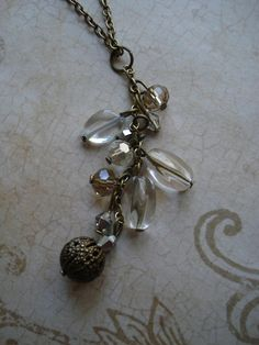 Crystal Sands Antique Brass Necklace by sonudesigns on Etsy, $8.50