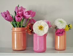 DIY Painted Jam Jar Vases