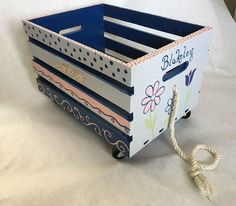 toy box crate, girls book box crate, pull toy crate box, hand painted crate box by babydreamdecor on Etsy Wood Crates, Wooden Boxes, Big Little Basket, Rustic Wine Racks, Diy Toy Storage, Pull Toy, Book Girl, Toy Boxes, Jouer