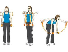 3 dumbbell moves to end neck pain and tone shoulders: 1. shrug, 2. upright row and 3. bent over lateral raise; work fantastic in combination rep & rotate.