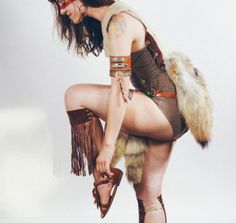 Post Apocalyptic Cosplay Women's Outfit - Costume Woodland Fox Tail Leather Upcycled Metal Beads on Etsy, $480.00