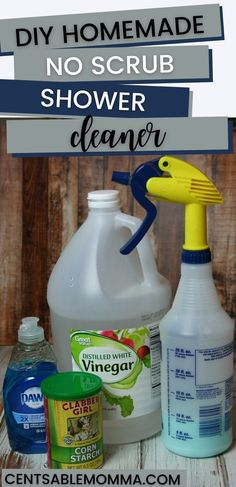 Find out how to get rid of soap scum build up and deep clean your tub and shower with this DIY no scrub Bathroom Soap Scum Cleaner recipe to take your shower from gross to sparkling with ingredients you already have at home! Dawn Shower Cleaner, Vinegar Shower Cleaner, Soap Scum Cleaner, Glass Shower Door Cleaner, Cleaning Shower Glass, Diy Bathroom Cleaner, Homemade Shower Cleaner, Bathroom Cleaning, Best Tub Cleaner