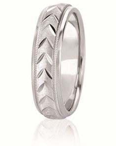 Raised Chevron Design Center Wedding Band With Mil