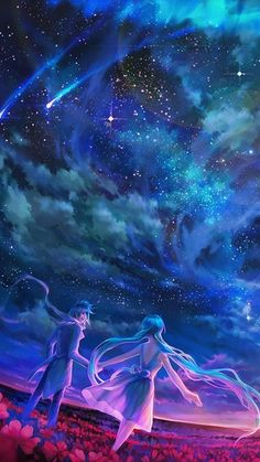 Anime-Sky-Shooting-Stars-Universe-iPhone-wallpaper - iPhone Wallpapers