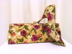 Beautiful 1950's Vintage  Shoes & Matching Purse, Roses and Gold, Sz 6 1/2. $85.00, via Etsy.