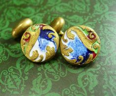 Guilloche Enamel Cufflinks Vintage Gold Circus Green Lavender Old Style Posts. A perfect addition to a collection or for a gift for that special someone. Wouldn't these look great on the groom? ?Here is a great gift idea that shows you took the time to care about that special person in your life. It is classic and vintage and we even gift wrap it for you . Whether it is a memory from their past or something that reminds you of how special they are, it is a unique idea because it is vintage…