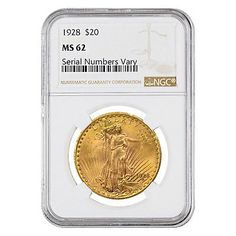 1928 $20 Gold St. Gaudens Double Eagle Coin NGC MS 62