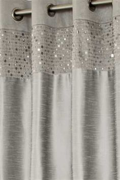 Buy Silver Sequin Banded Eyelet Curtains