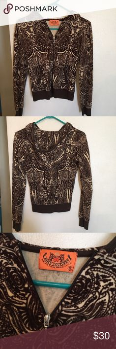 Brown/Tan Paisley Jacket Brown and tan jacket with a paisley print by Juicy Couture. Snug fit and cozy. Juicy Couture Jackets & Coats