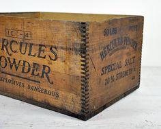 Hercules Powder Dynamite Wood Shipping Crate 18x13x7