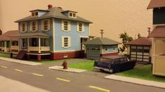 Whittemore HO Scale Train Table - March 2015 - Bachmann Sears Craftsman House and Barb's Bungalow Garage