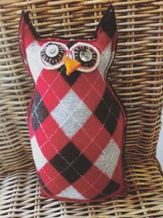 Stuffed Owl FriendArgyle by Fuzzibritches on Etsy, $25.00