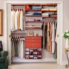 Small Closet organized - I like the shoe cubbies