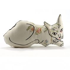 relaxed cat shaped medium pillow floral fabric by pattihaskins, $35.00