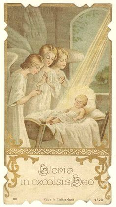 Holy Card, undated by Sam Fam, Vintage Holy Cards, Vintage Christmas Cards, Christmas Images, Religion Catolica, I Believe In Angels, Joseph, Prayer Cards, Guardian Angels, Blessed Mother