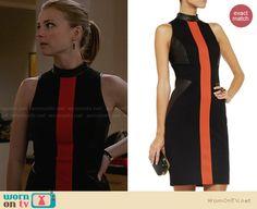Emily's black and red leather neck dress on Revenge. Outfit Details: http://wornontv.net/28305 #Revenge #fashion