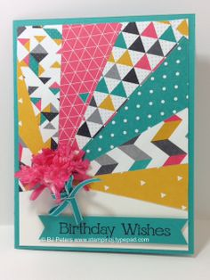 Bright and Bold is what the Kaliedoscope DSP is. This is the perfect DSP to have on hand when your project just needs a little something. Use a lot or a little! Details of this sunburst card on my blog; http://www.stampinbj.typepad.com/