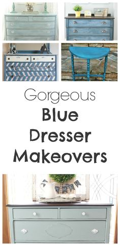 BLUE is IN- my favorite color.  These dressers would be perfect for my front room.  This site also has hundreds of other tutorials and tips on painting anything in or outside of your home!  A must REPIN for DIYers!!