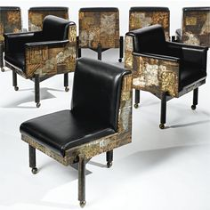 Paul Evans SET OF EIGHT CHAIRS comprising two armchairs and six side chairs each with welded signature and date bronze, steel, copper, pewter and brass on castors, 1970. Manufactured by Paul Evans Studio, Plumsteadville, PA.
