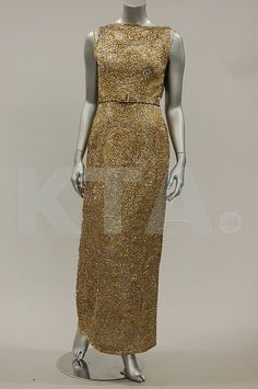 Pierre Balmain couture opalescent gold lace evening gown, mid 1960s
