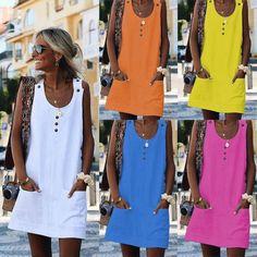 Womens Summer Dresses Vest Sleeveless Sundress Beach Mini Dress Casual Party - Orange Dresses - Trending Orange Dresses for sales. - 0 The post Womens Summer Dresses Vest Sleeveless Sundress Beach Mini Dress Casual Party appeared first on Dress Honey. Casual T Shirt Dress, Mini Shirt Dress, Short Mini Dress, Tank Dress, Casual Dresses, Button Dress, Linen Dresses, Long Summer Dresses, Types Of Sleeves