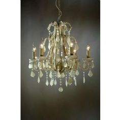 French Style Marie Therese Cream Cracked & White 6 Arm Chandelier