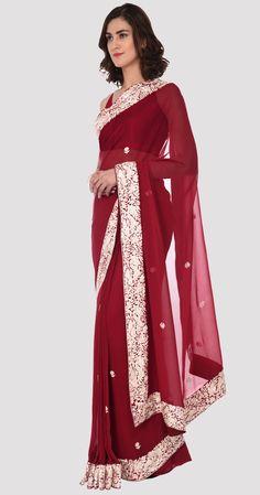 Reddish Maroon Parsi Gara Hand Embroidered Pure Georgette Saree