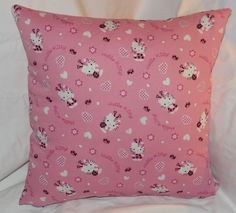 The second Hello Kitty pillow.  14 inch pillow made of 100% cotton with a zipper on the bottom for easy washing.
