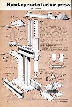 DIY Arbor Press Popular Mechanics Prensa popular mecánica fabricación en hierro para nuestros trabajos de prensado