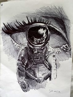 Tumblr, hipster art. Astronuta, ojo a lapiz. Dibujo creativo, inspiracion Surrealismo