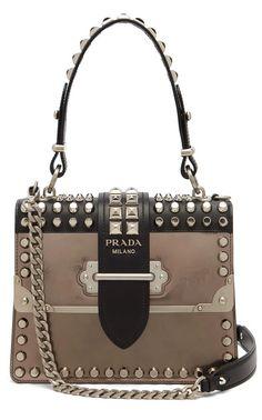bd2f75114679 PRADA Cahier metallic-leather studded shoulder bag