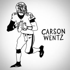 Carson Wentz will be looking to maintain his MVP charge this afternoon after last weeks 4 TD showing. . . . #nfl #drawing #illustration #art #penandink #inktober #gridiron #americanfootball #carsonwentz #philadelphiaeagles #eagles #quarterback #mvp #philadelphia