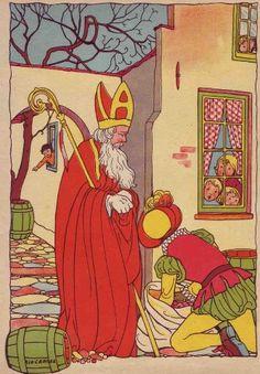 Saint Nicolas by Rie Cramer Vintage Cards, Vintage Postcards, Santa Claus Story, Saints For Kids, Santa Pictures, Dutch Artists, Cute Drawings, Illustrations Posters, Images