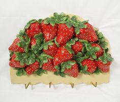 Strawberries Key Holder Wall Rack Resin Strawberry motif on eBay www.grammysbargains.com